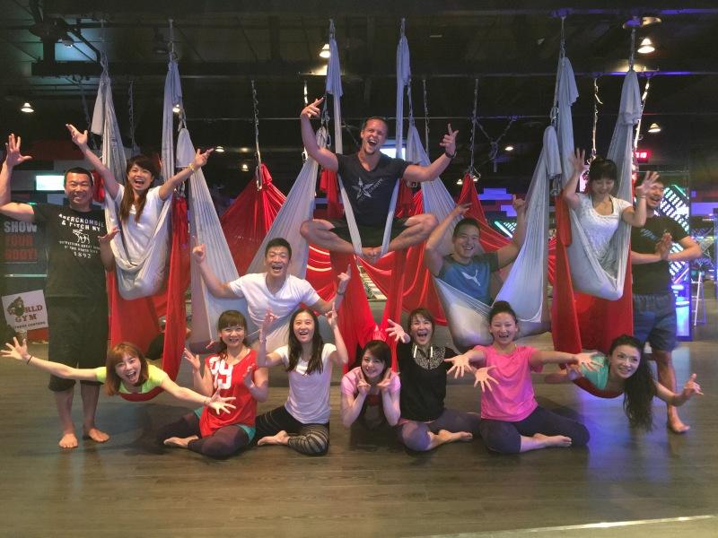 Tamer begum antigravity fitness master trainer restorative yoga world gym launch
