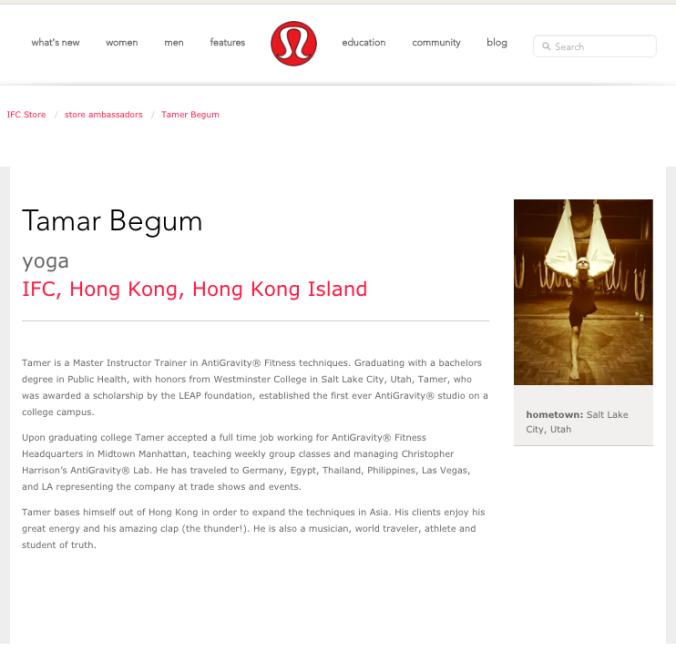 Lululemon Ambassador Hong Kong IFC Tamer Begum