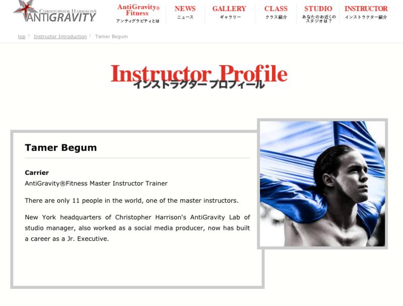 tamer begum master trainer antigravity fitness japan navi instructor