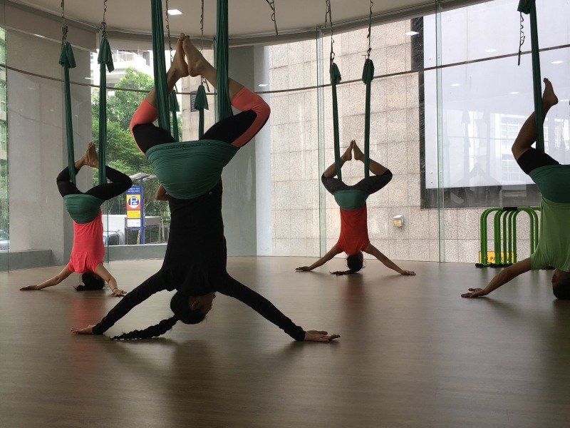 AntiGravity fitness teacher training by master trainer tamer begum at Muve yoga gym studio Singapore