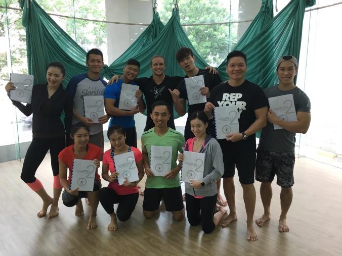 AntiGravity fitness teacher training by master trainer tamer begum at Muve yoga gym studio Singapore