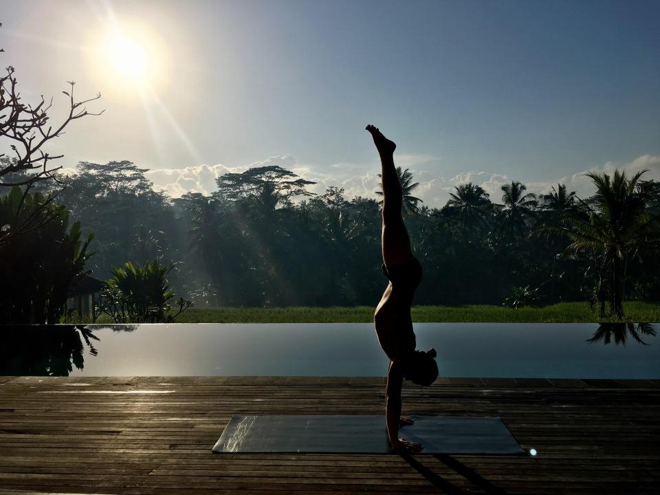 Tamer Begum Yoga handstand Ubud Bali